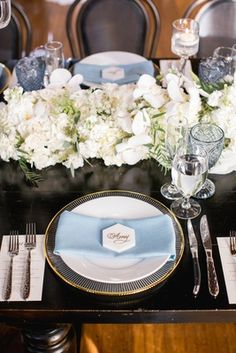 Romantic Wedding with Lush Florals at Venue in Long Beach - Inside Weddings Wedding Napkins, Wedding Table, Unique Weddings, Real Weddings, Table Setting Inspiration, Reception Decorations, Wedding Centerpieces, Sweetheart Table, Wedding Place Cards