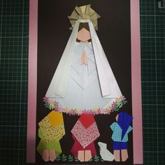 Nossa senhora de Fátima Origami Folding, 3d Origami, First Holy Communion, Button Crafts, Art N Craft, Paper Beads, Kirigami, Paper Dolls, Quilling