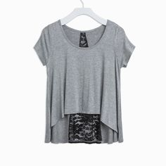 Breezy Lace Insert Top in grey and black lace