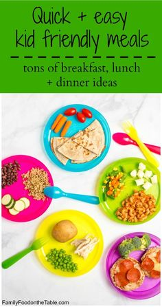Easy quick kid friendly meals - lots of last-minute breakfast, lunch and dinner ideas for toddlers, preschoolers and young kids. Plus, a free printable!