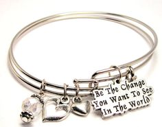 Be the Change You Want to See in the World Adjustable Bangle Bracelet Set -- Come and view more