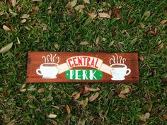 friends tv show central perk sign wood pallet art by BoardsOfBliss