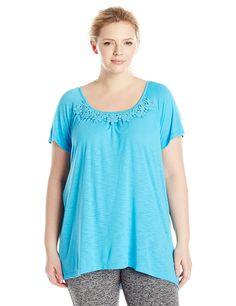 Just My Size Women's Plus-Size Slub Crochet Trim Tunic => Tried it! Love it! Click the image. : Plus size Activewear