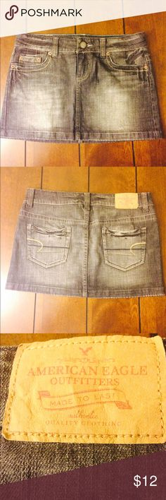 American eagle denim mini skirt American eagle woman's size 4 denim mini skirt. Vguc. Waist flat across measures 15 1/2 inches and this is 12 long. American Eagle Outfitters Skirts Mini