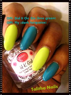 OPI- Did It On Em (pointer, ring finger) and Fly (middle,pinky finger) and topped it with Glisten & Glow topcoat