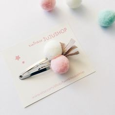 Pompom Fabric Tassel Hair Clip (White+Pink) by twinklejujushop on Etsy https://www.etsy.com/listing/268770865/pompom-fabric-tassel-hair-clip-whitepink