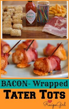 Bacon- Wrapped Tater Tots Stuffed with Cheddar Cheese and Tabasco- the ultimate comfort food appetizer #recipe from RecipeGirl.com