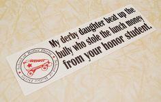 Roller Derby Sticker-Derby Daughter/Honor Student on Etsy, $5.00