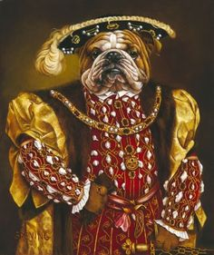 """Barbara Greving """"Portrait of an English Bulldog"""" Inspired by Hans Holbein the Younger's """"Henry VIII,"""" 1540"""