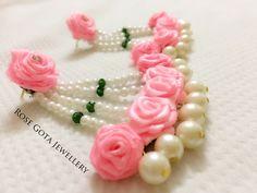Pink earrings Diy Jewelry Necklace, Pink Jewelry, Custom Jewelry, Handmade Jewelry, Flower Jewelry, Indian Wedding Jewelry, Bridal Jewelry, Gota Patti Jewellery, Bridal Jewellery Inspiration