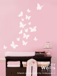 Butterflies Set of 16 Nursery Vinyl Wall Decal. $18.90, via Etsy.