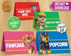 Paw Patrol Table Tents - INSTANT DOWNLOAD Customizable Food Tent Printable Cards Favors -  Chase Skye Rubble Marshall - Editable Text