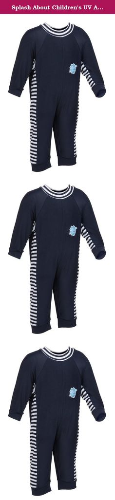 Splash About Children's UV All in One Eczema Suit, 6-12 Month, Navy/White Stripe. Eczema and sensitive skin in babies and young children can be extremely distressing so wearing the correct clothing is essential. Our Eczema suits are made from a nylon Lycra mix, which allow flexibility and ensure barrier and eczema creams are held in place whilst babies and toddlers swim or play in the sun. Designed with a high neck, long legs and arms this suit provides maximum coverage for sensitive…