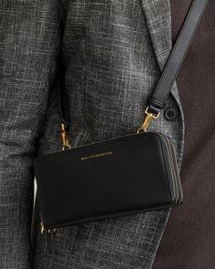 WANT Les Essentiels Petra Zip Unisex Black Leather Mini Crossbody Belt – Luxe Fashion Finds Want Les Essentials, Smooth Leather, Black Leather, Dog Clip, Just For Men, Black Clutch, Mini Crossbody Bag, Mini Bag, Branding Design