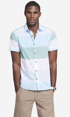 MIXED STRIPE SHORT SLEEVE SHIRT | Express