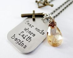 Inspirational jewelry. Fear Ends Where Faith Begins. Hand Stamped Necklace with Cross & Swarovski Crystal. Christian Jewelry.