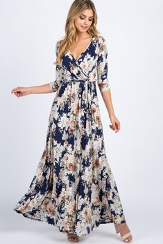 PinkBlush - Where Fashion Meets Motherhood Navy Blue Floral Sash Tie Maxi Dress