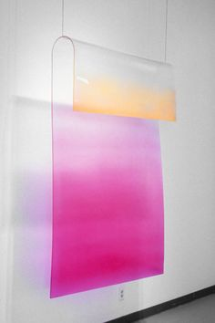 pretty.  could I dip-dye somehow plastic panels like this and use as transparent wall hangings for the whole room?  The light would make it fab.