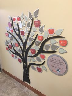 Metal donor tree with updateable individual naming leaves and apples. Sign Design, Wall Design, Donor Wall, Award Plaques, Memory Tree, Tree Designs, Apples, Life, Thanks