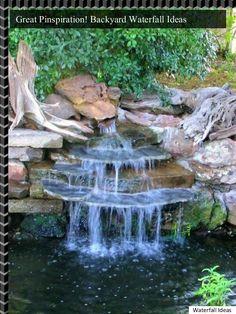 5 Fabelhafte und unglaubliche Hinterhof-Wasserfall-Ideen - Waterfall Landscaping Idea Source by back Waterfall Project, Diy Waterfall, Garden Waterfall, Waterfall Landscaping, Backyard Landscaping, Ponds Backyard, Garden Pool, Water Falls Backyard, Backyard Ideas