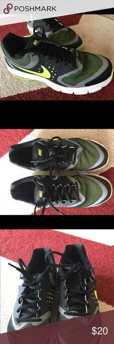 Nike Size 7.5 Women Black and Neon Green Great used condition. Worn 5-6 times. Is size 6 youth. Per Nike website will fit women size 7.5. I feel this is accurate as I wear a 7 in most shoes and these are a tad big on me. These are used and show a little bit of wear around the white part. Nothing that can't be clean up a bit. Please see the pics. No trades. Open to offers. These are super cute. Nice black and neon green. Super comfy too! Nike Shoes Sneakers