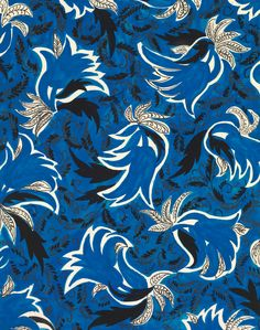 Blue Tulips | An exclusive reproduction of a Parisian textile design from Atelier Zina de Plagny, 1940's-1950's