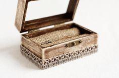 Wedding Ring Box, Glass Ring Box, Rustic Ring Box, Wedding Box With Burlap, Engagement Box, Ring Bearer Box, Pillow Alternative, Ring Holder