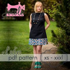 Ladies A-Line Shift Dress & Top -XS-XXXL - sewing pattern - Click Image to Close