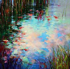 2014 - Donna Young Fine Art and Oil Paintings Watercolor Landscape, Abstract Landscape, Landscape Paintings, Watercolor Art, Oil Paintings, Monet, Water Lilies Painting, Water Artists, Hyper Realistic Paintings