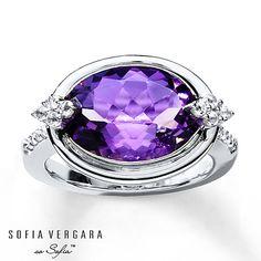 SOFIA VERGARA Ring Amethyst/White Topaz Sterling Silver .. I want .. Kay Jewelers