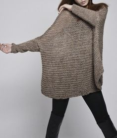 OVERSIZED Woman sweater/ Knit sweater in Mocha by MaxMelody