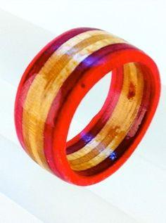 Recycled Skateboard Wood Ring by SkateBetty on Etsy