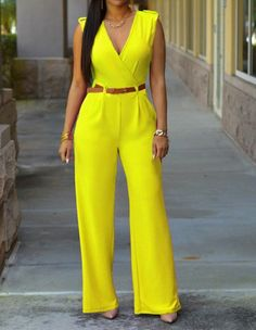 Womens Sleeveless V Neck Belted Wide Leg Party Workday Jumpsuit