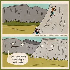 rock climbing comics and climbing cartoons about something on the mountains nose