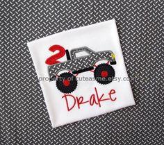 BOY MONSTER TRUCK Shirt Birthday Monster Truck Gray by cuteasme