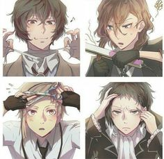 Bungo stray dogs - Akutagawa, Dazai, Chuuya and Atsushi Dazai Bungou Stray Dogs, Stray Dogs Anime, Anime Boys, Anime Manga, Chibi, Haikyuu, Another Anime, Yokohama, Dog Memes