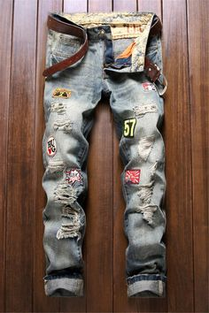 $26.48 Patch Design Zipper Fly Frayed Ripped Jeans