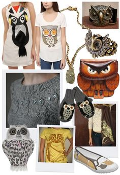 Love the:   Marc Jacobs Owl Pendant Necklace ($98); Brown Owl Handbag on Patina ($78); Handmade Owl Sweater by Needled (amazing); Book Club Owl Print Keds ($77); Samurai Owl Organic Tee by ironspider on Etsy ($23)