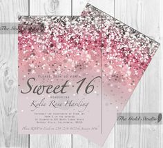 Customizable Pink Glitter Ombre Sweet sixteen 16 printable digital file, printing also available, JPEG PDF glamorous modern birthday party by TheGoldStudio on Etsy Glitter Invitations, Sweet 16 Invitations, Birthday Invitations, Invitation Ideas, Wedding Invitations, Invites, Sixteenth Birthday, 15th Birthday, Birthday Parties