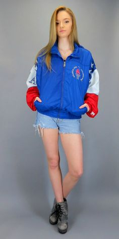Vintage 90s USA Flag Olympic Windbreaker Bomber Colorblock Red White Blue 1996 Atlanta Olympics Starter Hooded Track Jacket Hood Hipster Fresh Prince of Bel Air Retro Color Block by BlueFridayVintage on Etsy