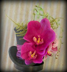 Fuschia Orchid Black Moulin Rouge Mini Top Hat, Mad Hatter Hat, Alice in Wonderland, Tea Hat, Bridal Hat, Centerpiece, Bridal Ht on Etsy, $62.00