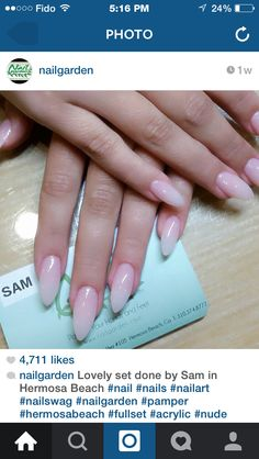 Ombre french almond nails