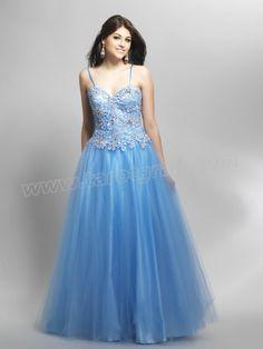 Applique Spaghetti Strap Tulle Prom Dress