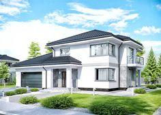 Projekt domu APS 266+2G 146,4 m2 - koszt budowy - EXTRADOM House Outside Design, Modern Villa Design, Big Windows, Dream House Plans, Home Design Plans, Home Fashion, Design Case, Planer, Home Projects