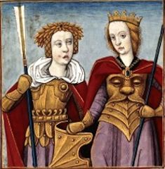 XIX et XX-Orythie et Antiope, reines de Amazones (ORITHYIA and ANTIOPE, queens of the Amazons) -- Giovanni Boccaccio (1313-1375), Le Livre des cleres et nobles femmes, v. 1488-1496, Cognac (France), traducteur anonyme. -- Illustrations painted by Robinet Testard -- BnF Français 599 fol. 18v haut -- See also at: https://commons.wikimedia.org/wiki/File:Orithye_et_Antiope_BnF_Fran%C3%A7ais_599_fol._18v.jpg