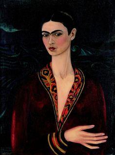 self-portrait wearing a velvet dress, Frida Kahlo