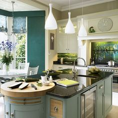New-England style kitchen with teal island