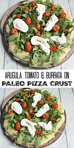 Arugula, Tomato & Burrata on Paleo Pizza Crust - use the crust recipe for any type of pizza! #glutenfree