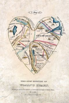 A map of woman's heart from the 1800s, equal parts amusing and appalling.