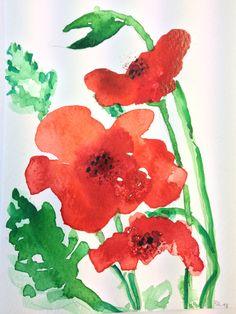 Klatschmohn, Aquarell,  gemalt mit Links